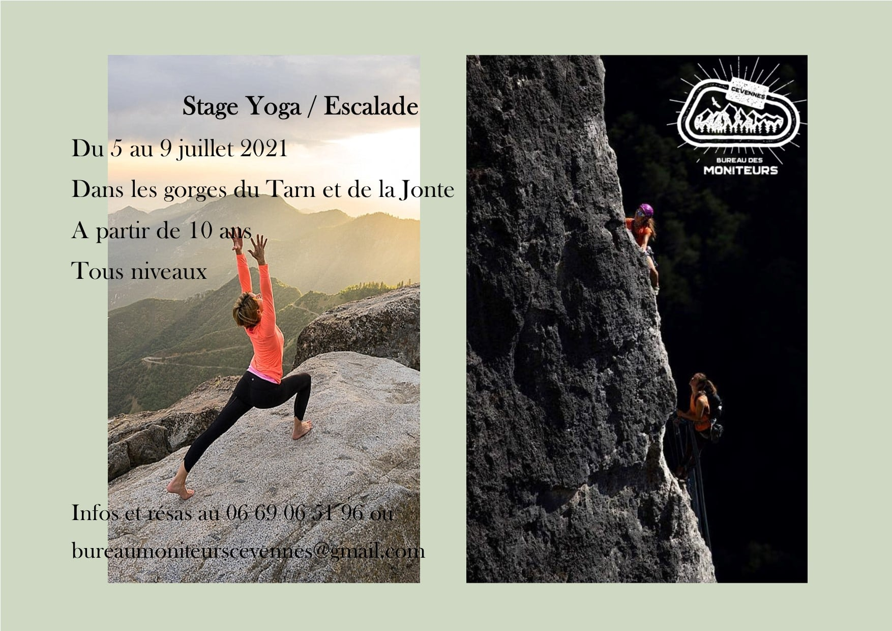 stage yoga escalade aveyron cevennes millau gorges de la jonte